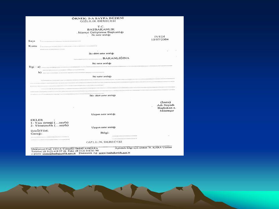 Resmi Yazışma Kuralları:İmza Metnin bitiminden itibaren iki-dört aralık boşluk bırakılarak yazıyı imzalayacak olan makam sahibinin adı, soyadı ve unvanı yazı alanının en sağına yazılır.