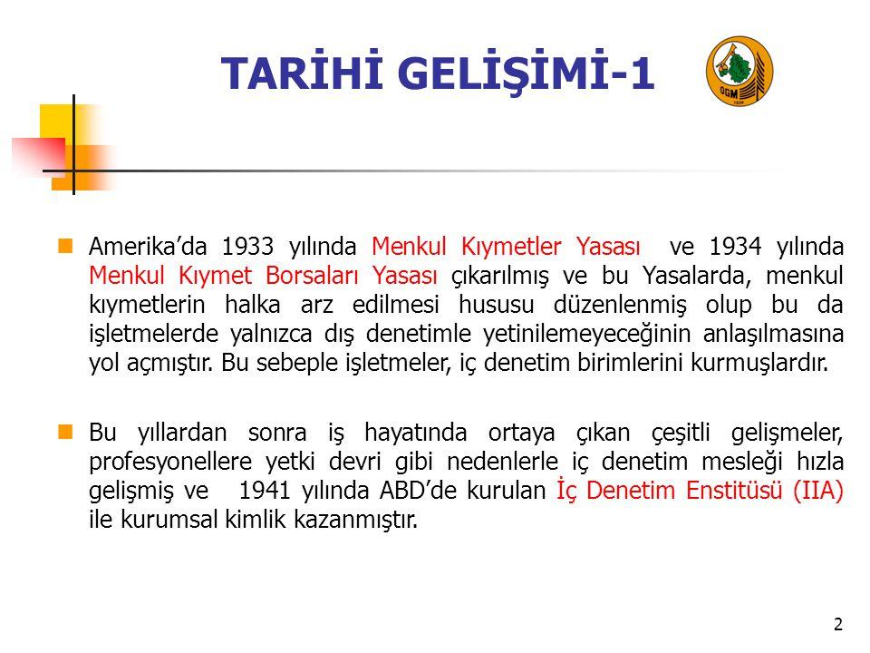 3 TARİHİ GELİŞİMİ-2 Ülkemizde özel sektöre yönelik olarak 1995 yılında İç Denetim Enstitüsü kurulmuştur.