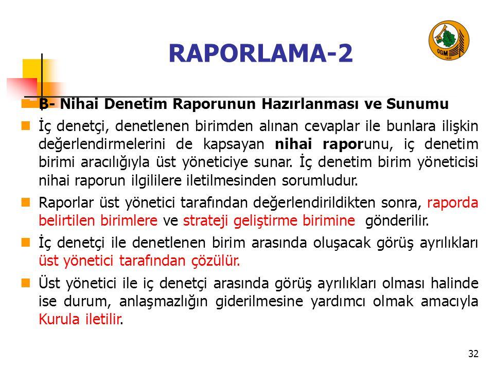 32 RAPORLAMA-2 B- Nihai Denetim Raporunun Hazırlanması ve Sunumu İç denetçi, denetlenen birimden alınan cevaplar ile bunlara ilişkin değerlendirmelerini de kapsayan nihai raporunu, iç denetim birimi aracılığıyla üst yöneticiye sunar.