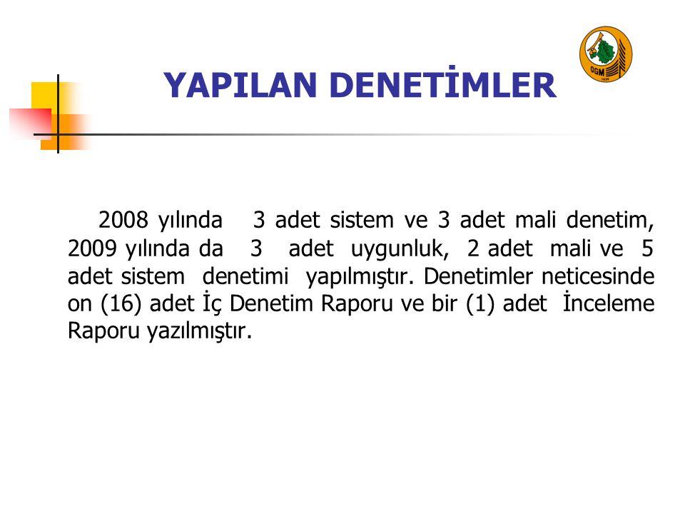 YAPILAN DENETİMLER 2008 yılında 3 adet sistem ve 3 adet mali denetim, 2009 yılında da 3 adet uygunluk, 2 adet mali ve 5 adet sistem denetimi yapılmışt