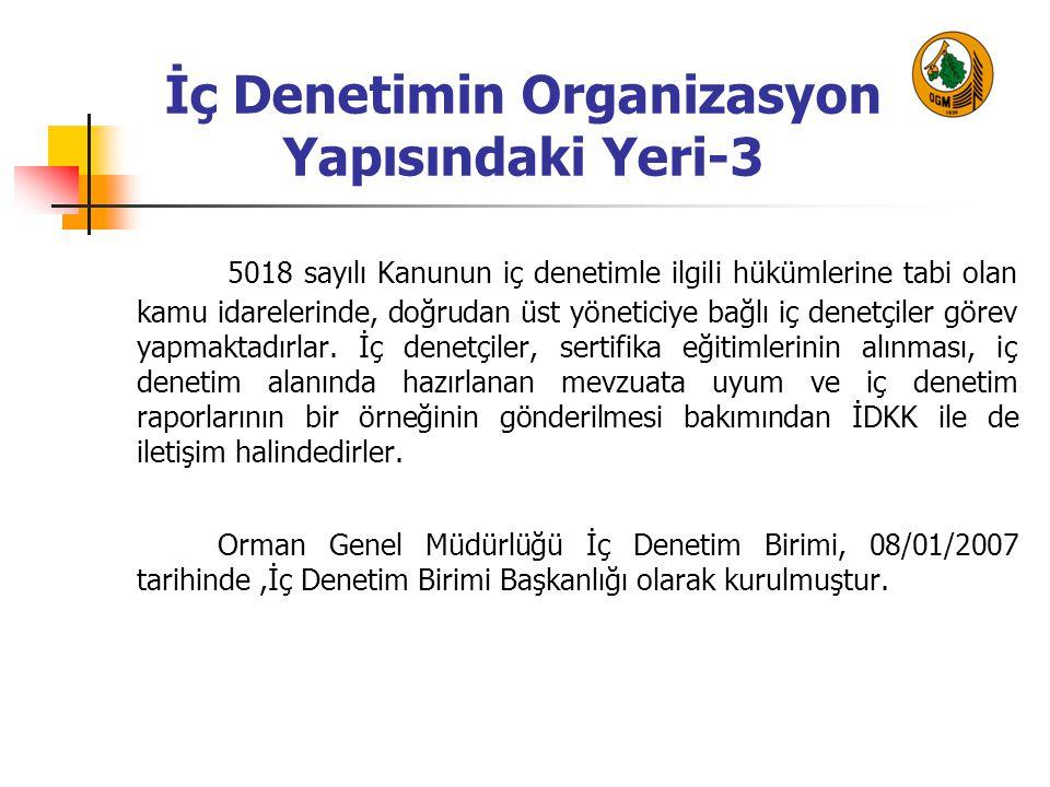 İç Denetimin Organizasyon Yapısındaki Yeri-3 5018 sayılı Kanunun iç denetimle ilgili hükümlerine tabi olan kamu idarelerinde, doğrudan üst yöneticiye bağlı iç denetçiler görev yapmaktadırlar.