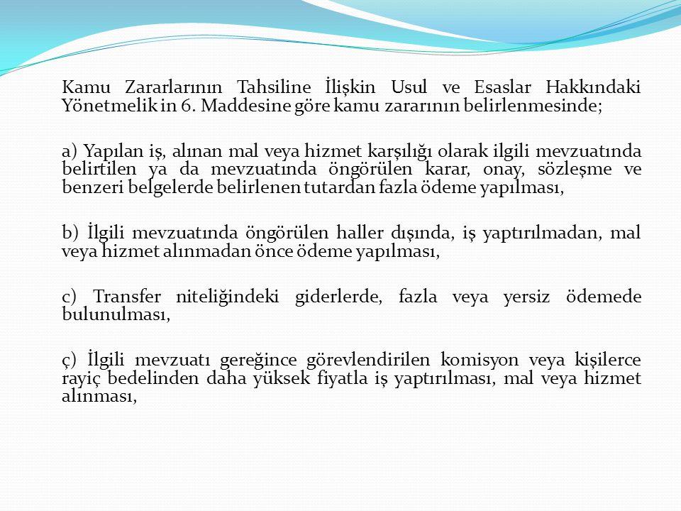 Kamu Zararlarının Tahsiline İlişkin Usul ve Esaslar Hakkındaki Yönetmelik in 6. Maddesine göre kamu zararının belirlenmesinde; a) Yapılan iş, alınan m