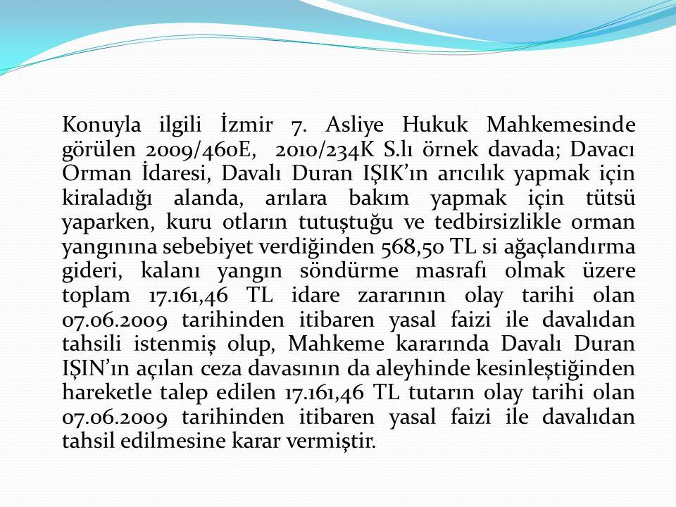 Konuyla ilgili İzmir 7. Asliye Hukuk Mahkemesinde görülen 2009/460E, 2010/234K S.lı örnek davada; Davacı Orman İdaresi, Davalı Duran IŞIK'ın arıcılık