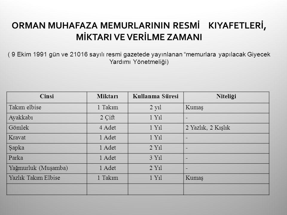 """ORMAN MUHAFAZA MEMURLARININ RESMİ KIYAFETLERİ, MİKTARI VE VERİLME ZAMANI ( 9 Ekim 1991 gün ve 21016 sayılı resmi gazetede yayınlanan """"memurlara yapıla"""