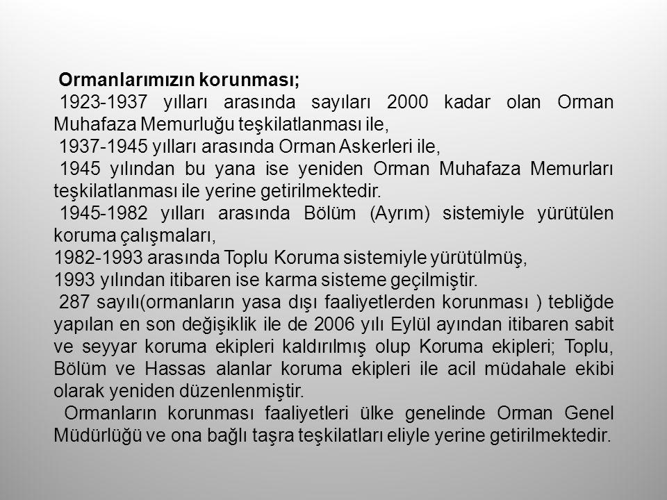 Ormanlarımızın korunması; 1923-1937 yılları arasında sayıları 2000 kadar olan Orman Muhafaza Memurluğu teşkilatlanması ile, 1937-1945 yılları arasında