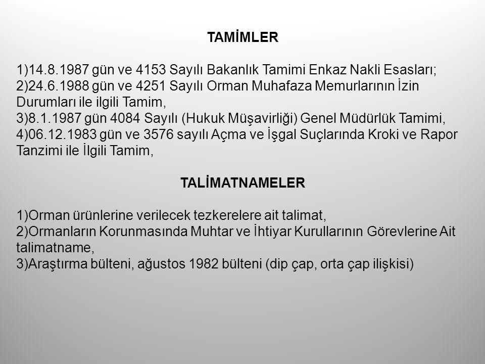 TAMİMLER 1)14.8.1987 gün ve 4153 Sayılı Bakanlık Tamimi Enkaz Nakli Esasları; 2)24.6.1988 gün ve 4251 Sayılı Orman Muhafaza Memurlarının İzin Durumlar