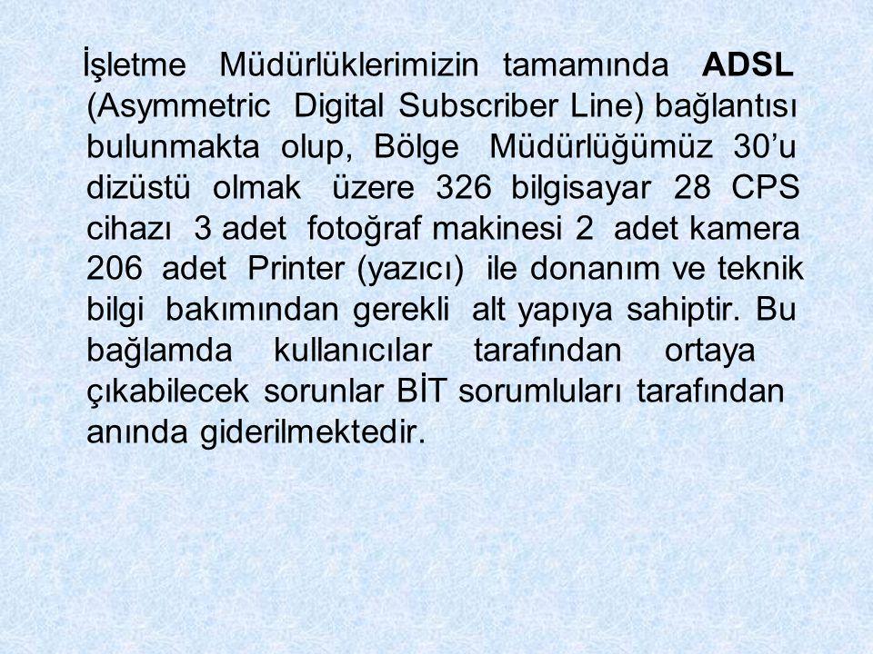 İşletme Müdürlüklerimizin tamamında ADSL (Asymmetric Digital Subscriber Line) bağlantısı bulunmakta olup, Bölge Müdürlüğümüz 30'u dizüstü olmak üzere