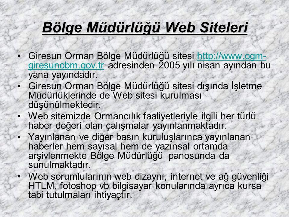 Bölge Müdürlüğü Web Siteleri Giresun Orman Bölge Müdürlüğü sitesi http://www.ogm- giresunobm.gov.tr adresinden 2005 yılı nisan ayından bu yana yayında
