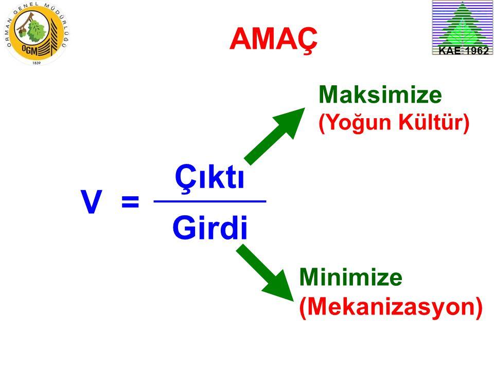 V= Çıktı Girdi Minimize (Mekanizasyon) Maksimize (Yoğun Kültür) AMAÇ KAE 1962