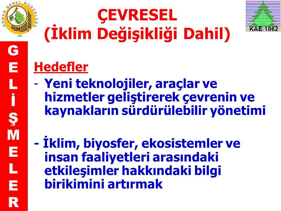 KAE 1962 ÇEVRESEL (İklim Değişikliği Dahil) Hedefler -Yeni teknolojiler, araçlar ve hizmetler geliştirerek çevrenin ve kaynakların sürdürülebilir yöne