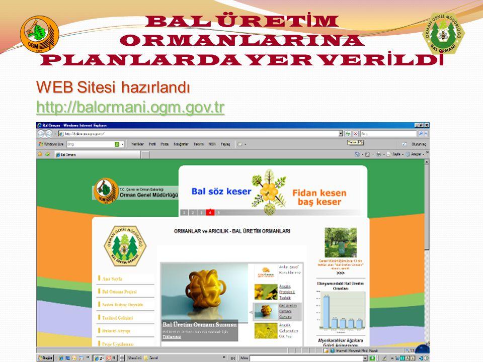 WEB Sitesi hazırlandı WEB Sitesi hazırlandı http://balormani.ogm.gov.tr http://balormani.ogm.gov.trhttp://balormani.ogm.gov.tr BAL ÜRET İ M ORMANLARINA PLANLARDA YER VER İ LD İ