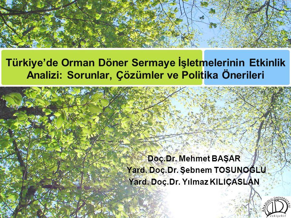 Türkiye'de Orman Döner Sermaye İşletmelerinin Etkinlik Analizi: Sorunlar, Çözümler ve Politika Önerileri Doç.Dr. Mehmet BAŞAR Yard. Doç.Dr. Şebnem TOS