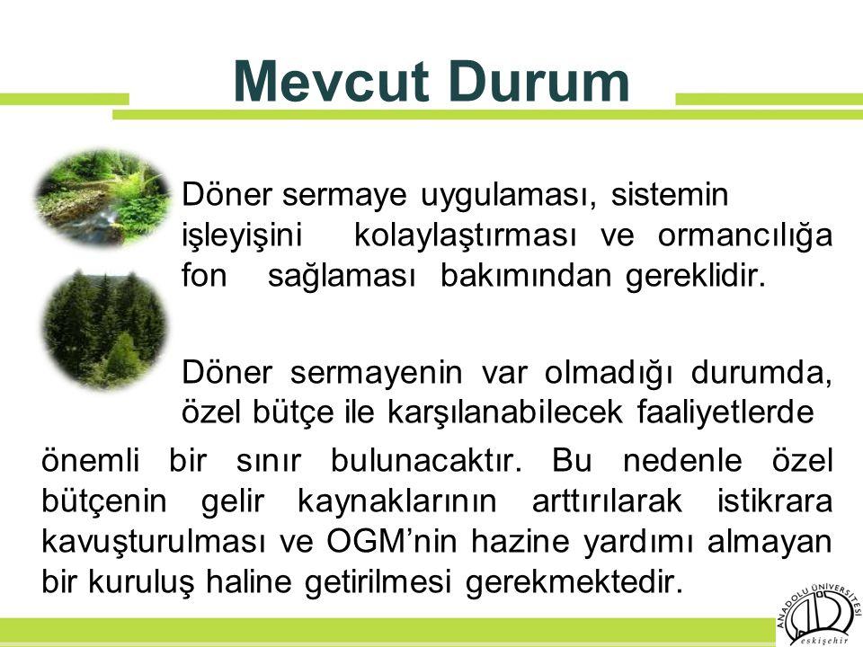 Mevcut Durum Döner sermaye uygulaması, sistemin işleyişini kolaylaştırması ve ormancılığa fon sağlaması bakımından gereklidir. Döner sermayenin var ol