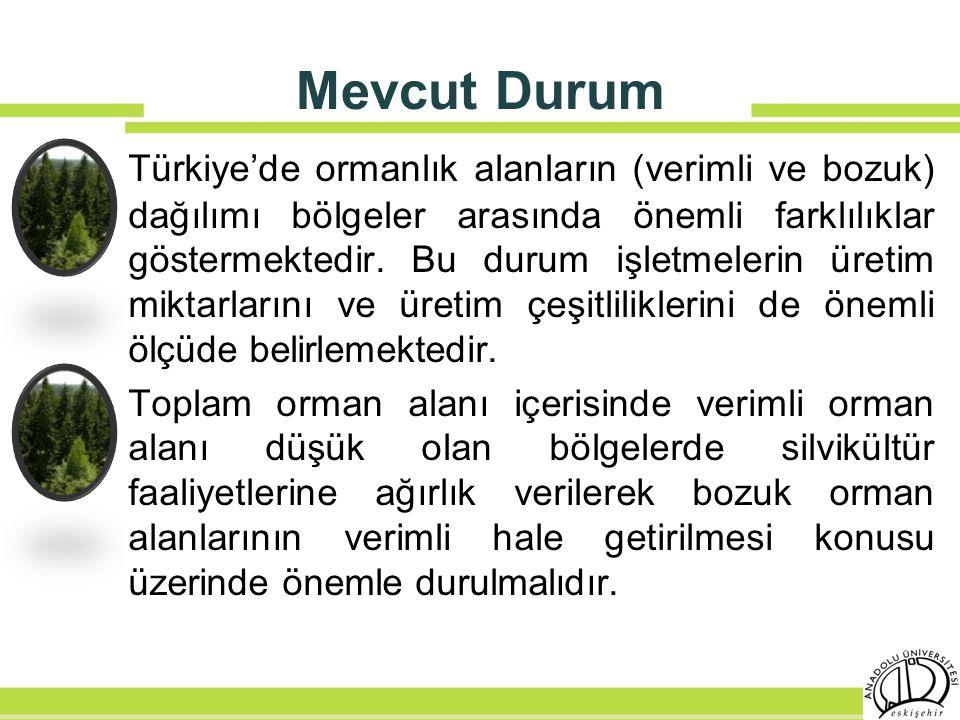 Mevcut Durum Türkiye'de ormanlık alanların (verimli ve bozuk) dağılımı bölgeler arasında önemli farklılıklar göstermektedir. Bu durum işletmelerin üre