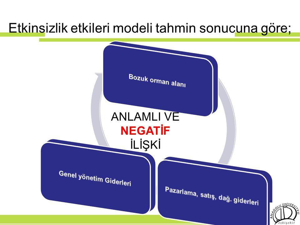 Etkinsizlik etkileri modeli tahmin sonucuna göre; ANLAMLI VE NEGATİF İLİŞKİ