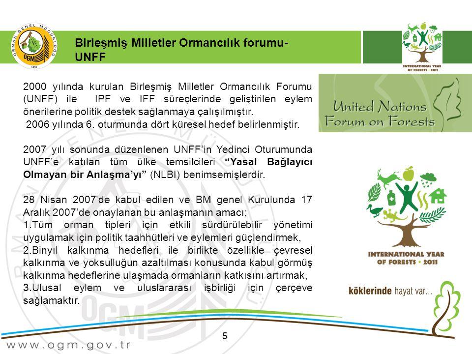 5 2000 yılında kurulan Birleşmiş Milletler Ormancılık Forumu (UNFF) ile IPF ve IFF süreçlerinde geliştirilen eylem önerilerine politik destek sağlanmaya çalışılmıştır.