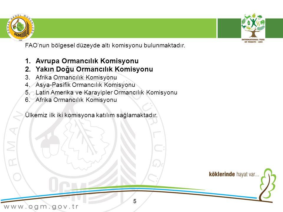 5 FAO'nun bölgesel düzeyde altı komisyonu bulunmaktadır.