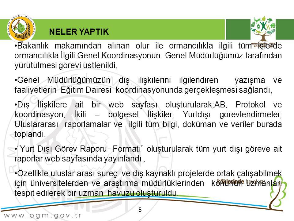 5 Bakanlık makamından alınan olur ile ormancılıkla ilgili tüm işlerde ormancılıkla İlgili Genel Koordinasyonun Genel Müdürlüğümüz tarafından yürütülmesi görevi üstlenildi, Genel Müdürlüğümüzün dış ilişkilerini ilgilendiren yazışma ve faaliyetlerin Eğitim Dairesi koordinasyonunda gerçekleşmesi sağlandı, Dış İlişkilere ait bir web sayfası oluşturularak;AB, Protokol ve koordinasyon, İkili – bölgesel İlişkiler, Yurtdışı görevlendirmeler, Uluslararası raporlamalar ve ilgili tüm bilgi, doküman ve veriler burada toplandı, Yurt Dışı Görev Raporu Formatı oluşturularak tüm yurt dışı göreve ait raporlar web sayfasında yayınlandı, Özellikle uluslar arası süreç ve dış kaynaklı projelerde ortak çalışabilmek için üniversitelerden ve araştırma müdürlüklerinden konunun uzmanları tespit edilerek bir uzman havuzu oluşturuldu.