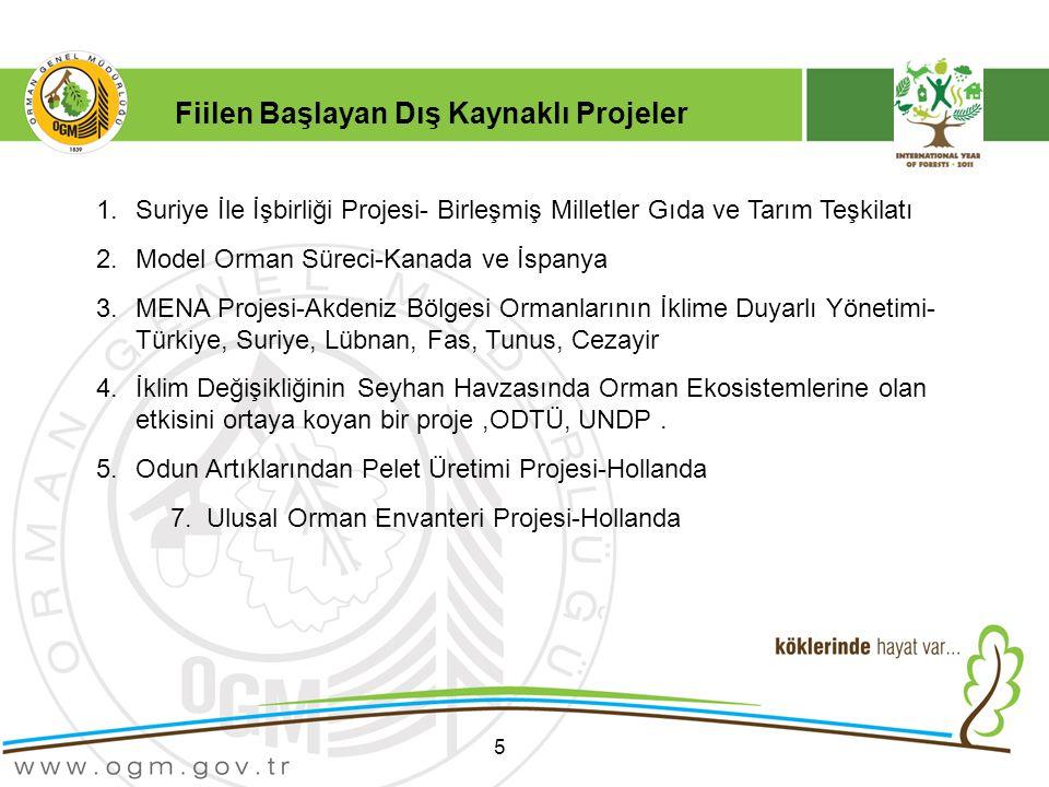 5 1.Suriye İle İşbirliği Projesi- Birleşmiş Milletler Gıda ve Tarım Teşkilatı 2.Model Orman Süreci-Kanada ve İspanya 3.MENA Projesi-Akdeniz Bölgesi Ormanlarının İklime Duyarlı Yönetimi- Türkiye, Suriye, Lübnan, Fas, Tunus, Cezayir 4.İklim Değişikliğinin Seyhan Havzasında Orman Ekosistemlerine olan etkisini ortaya koyan bir proje,ODTÜ, UNDP.