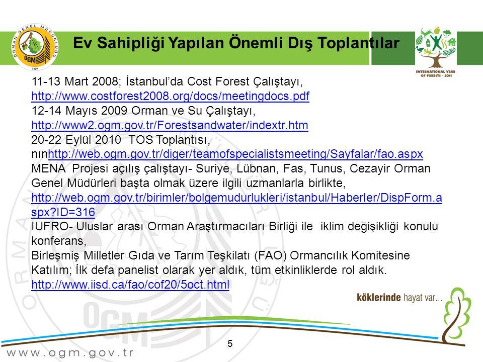5 11-13 Mart 2008; İstanbul'da Cost Forest Çalıştayı, http://www.costforest2008.org/docs/meetingdocs.pdf http://www.costforest2008.org/docs/meetingdocs.pdf 12-14 Mayıs 2009 Orman ve Su Çalıştayı, http://www2.ogm.gov.tr/Forestsandwater/indextr.htm http://www2.ogm.gov.tr/Forestsandwater/indextr.htm 20-22 Eylül 2010 TOS Toplantısı, nınhttp://web.ogm.gov.tr/diger/teamofspecialistsmeeting/Sayfalar/fao.aspxhttp://web.ogm.gov.tr/diger/teamofspecialistsmeeting/Sayfalar/fao.aspx MENA Projesi açılış çalıştayı- Suriye, Lübnan, Fas, Tunus, Cezayir Orman Genel Müdürleri başta olmak üzere ilgili uzmanlarla birlikte, http://web.ogm.gov.tr/birimler/bolgemudurlukleri/istanbul/Haberler/DispForm.a spx?ID=316 http://web.ogm.gov.tr/birimler/bolgemudurlukleri/istanbul/Haberler/DispForm.a spx?ID=316 IUFRO- Uluslar arası Orman Araştırmacıları Birliği ile iklim değişikliği konulu konferans, Birleşmiş Milletler Gıda ve Tarım Teşkilatı (FAO) Ormancılık Komitesine Katılım; İlk defa panelist olarak yer aldık, tüm etkinliklerde rol aldık.