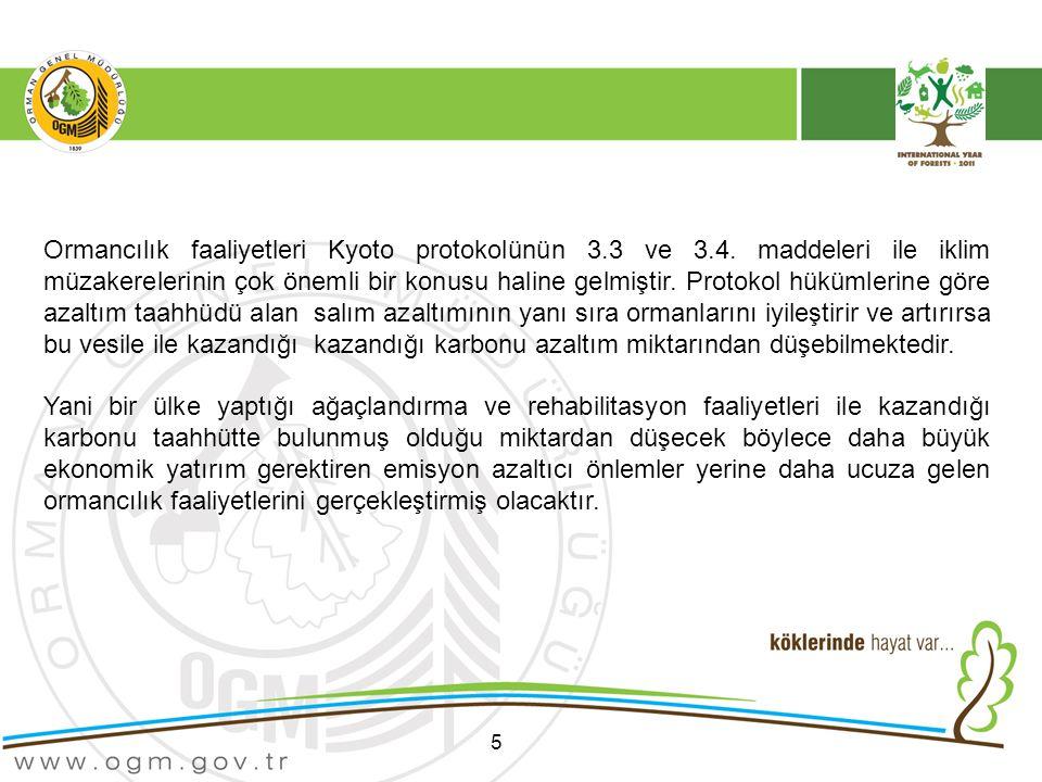 5 Ormancılık faaliyetleri Kyoto protokolünün 3.3 ve 3.4.
