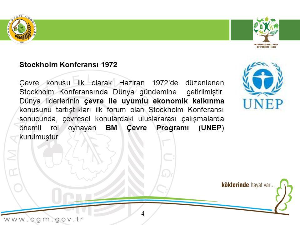 4 Stockholm Konferansı 1972 Çevre konusu ilk olarak Haziran 1972'de düzenlenen Stockholm Konferansında Dünya gündemine getirilmiştir.
