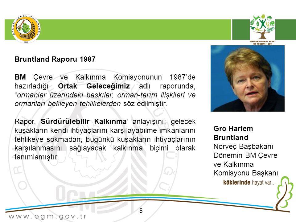 5 Bruntland Raporu 1987 BM Çevre ve Kalkınma Komisyonunun 1987'de hazırladığı Ortak Geleceğimiz adlı raporunda, ormanlar üzerindeki baskılar, orman-tarım ilişkileri ve ormanları bekleyen tehlikelerden söz edilmiştir.