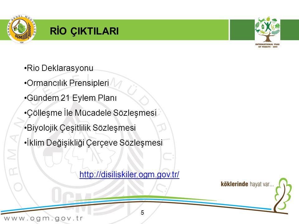 5 Rio Deklarasyonu Ormancılık Prensipleri Gündem 21 Eylem Planı Çölleşme İle Mücadele Sözleşmesi Biyolojik Çeşitlilik Sözleşmesi İklim Değişikliği Çerçeve Sözleşmesi http://disiliskiler.ogm.gov.tr/ RİO ÇIKTILARI