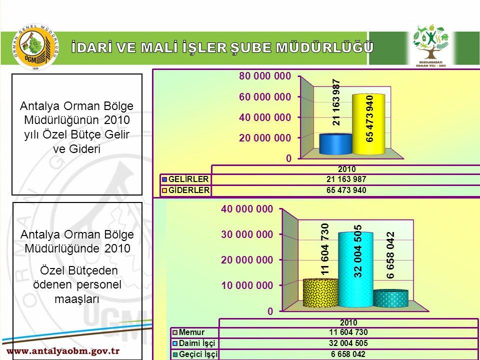 ……… Şube Müdürlüğü Antalya Orman Bölge Müdürlüğünün 2010 yılı Özel Bütçe Gelir ve Gideri Antalya Orman Bölge Müdürlüğünde 2010 Özel Bütçeden ödenen pe