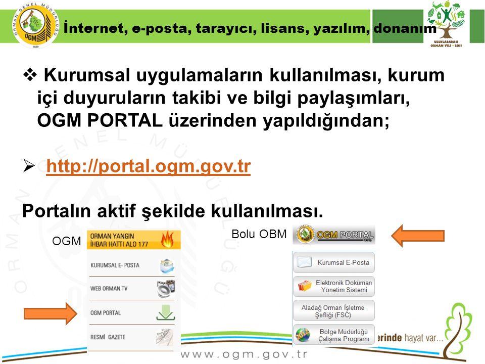 16/12/2010 Kurumsal Kimlik 40  Kurumsal uygulamaların kullanılması, kurum içi duyuruların takibi ve bilgi paylaşımları, OGM PORTAL üzerinden yapıldığ