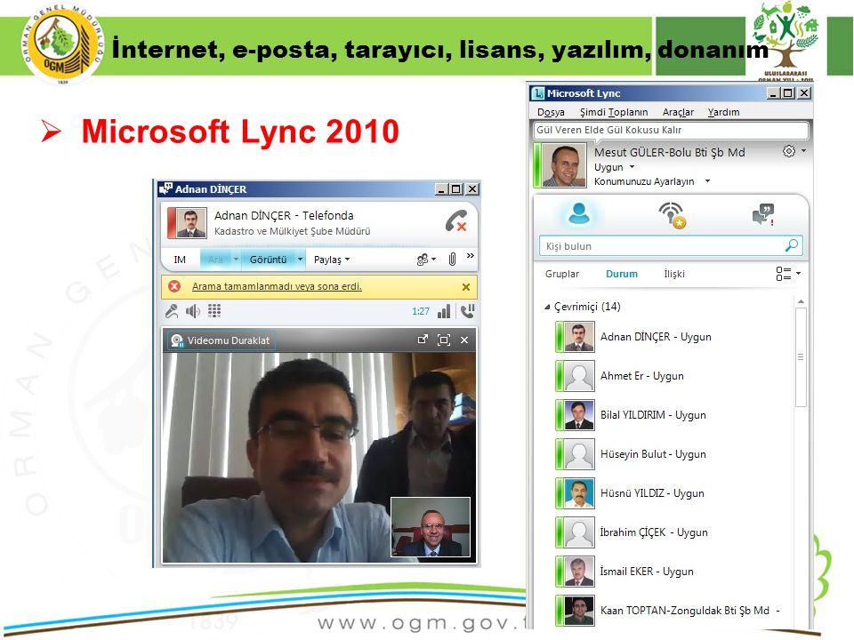 16/12/2010 Kurumsal Kimlik 42  Microsoft Lync 2010 İnternet, e-posta, tarayıcı, lisans, yazılım, donanım