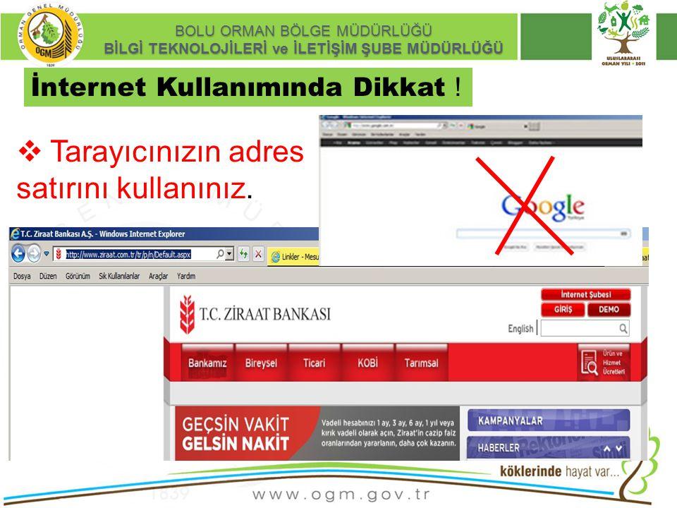 16/12/2010 Kurumsal Kimlik 7 BOLU ORMAN BÖLGE MÜDÜRLÜĞÜ BİLGİ TEKNOLOJİLERİ ve İLETİŞİM ŞUBE MÜDÜRLÜĞÜ Güvenli interaktif işlem:  Ziraat Bankası internet bankacılığı: