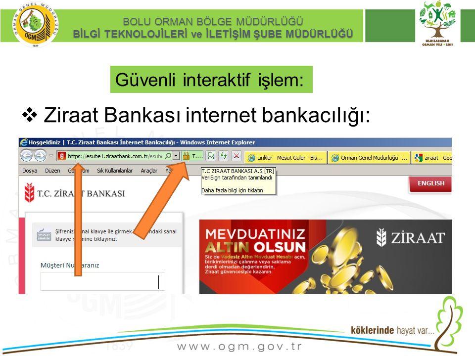 16/12/2010 Kurumsal Kimlik 7 BOLU ORMAN BÖLGE MÜDÜRLÜĞÜ BİLGİ TEKNOLOJİLERİ ve İLETİŞİM ŞUBE MÜDÜRLÜĞÜ Güvenli interaktif işlem:  Ziraat Bankası inte
