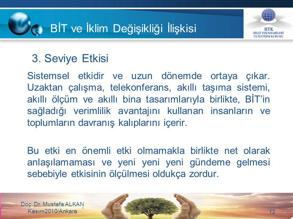 Doç. Dr. Mustafa ALKAN Kasım2010/Ankara 12 Sistemsel etkidir ve uzun dönemde ortaya çıkar. Uzaktan çalışma, telekonferans, akıllı taşıma sistemi, akıl