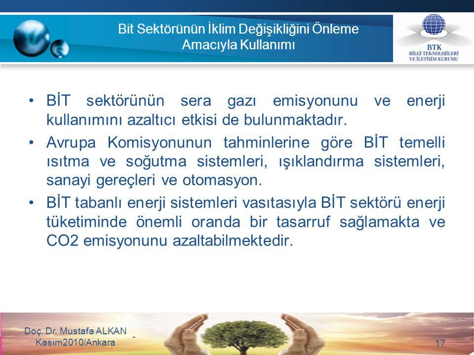 Doç. Dr. Mustafa ALKAN Kasım2010/Ankara 17 Bit Sektörünün İklim Değişikliğini Önleme Amacıyla Kullanımı BİT sektörünün sera gazı emisyonunu ve enerji