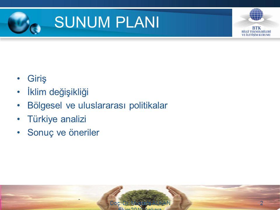 SUNUM PLANI Giriş İklim değişikliği Bölgesel ve uluslararası politikalar Türkiye analizi Sonuç ve öneriler Doç. Dr. Mustafa ALKAN Ekim2010/Ankara 2