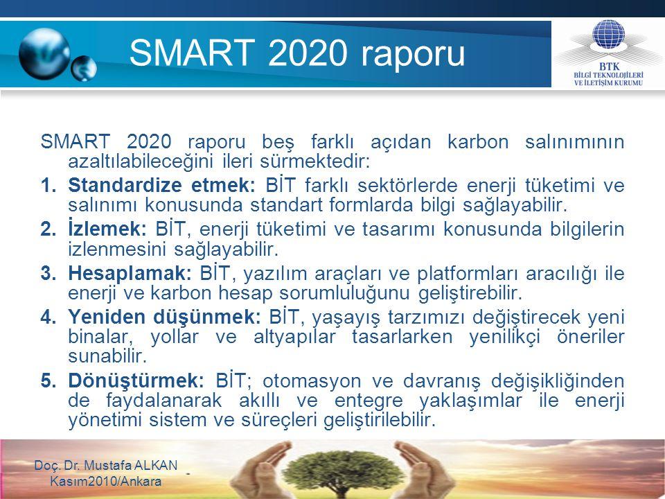SMART 2020 raporu beş farklı açıdan karbon salınımının azaltılabileceğini ileri sürmektedir: 1.Standardize etmek: BİT farklı sektörlerde enerji tüketi