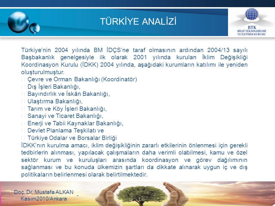 TÜRKİYE ANALİZİ Doç. Dr. Mustafa ALKAN Kasım2010/Ankara Türkiye'nin 2004 yılında BM İDÇS'ne taraf olmasının ardından 2004/13 sayılı Başbakanlık genelg