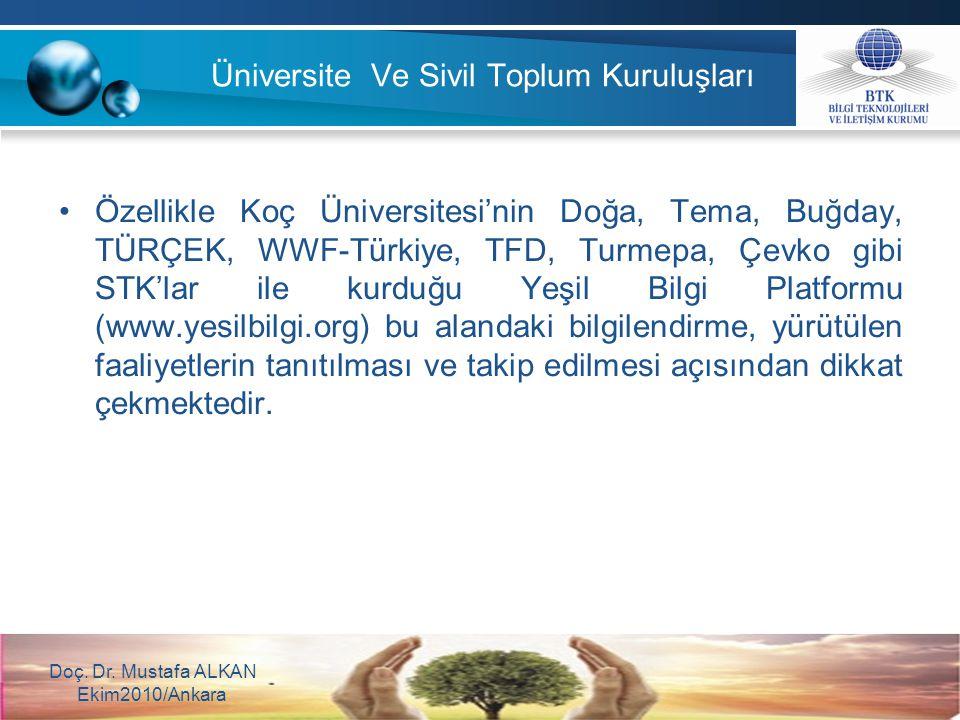 Üniversite Ve Sivil Toplum Kuruluşları Özellikle Koç Üniversitesi'nin Doğa, Tema, Buğday, TÜRÇEK, WWF-Türkiye, TFD, Turmepa, Çevko gibi STK'lar ile ku