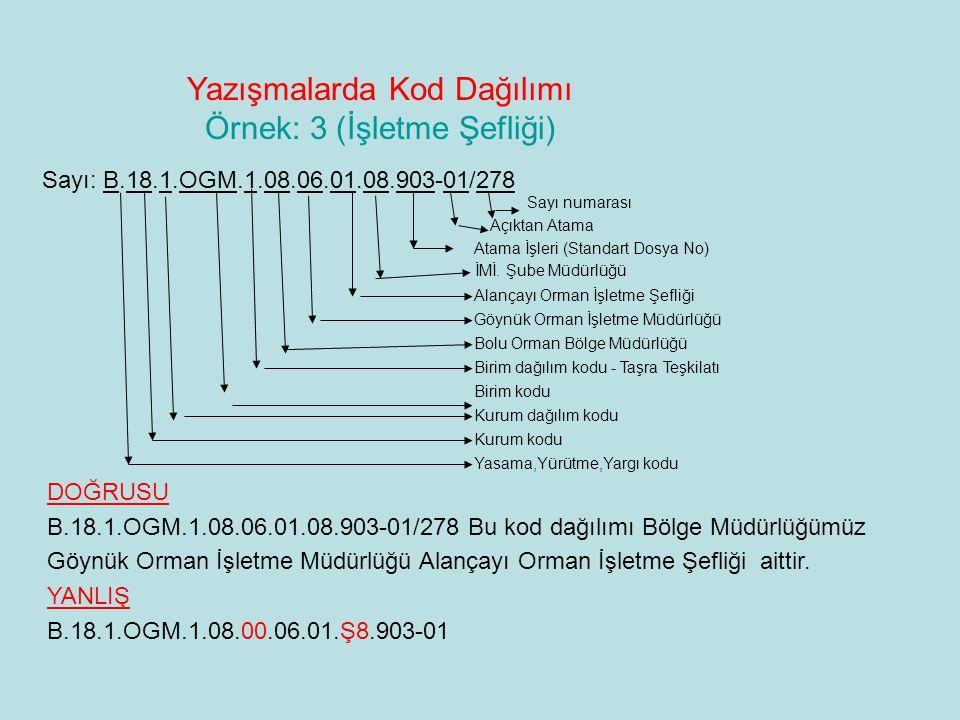 Yazışmalarda Kod Dağılımı Örnek: 3 (İşletme Şefliği) Sayı: B.18.1.OGM.1.08.06.01.08.903-01/278 Sayı numarası Açıktan Atama Atama İşleri (Standart Dosy