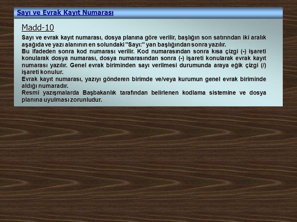 Yazışmalarda Kod Dağılımı Örnek: 1 (Bölge Müdürlüğü) Sayı: B.18.1.OGM.1.08.00.08.903-01/540 Sayı numarası Açıktan Atama Atama İşleri (Standart Dosya No) İMİ Şube Müdürlüğü Orman Bölge Müdürlüğü Bolu Orman Bölge Müdürlüğü Birim dağılım kodu - Taşra Teşkilatı Birim kodu Kurum dağılım kodu Kurum kodu Yasama,Yürütme,Yargı kodu B.18.1.OGM.1.08.00.08.903-01/540 Bu kod dağılımı Bölge Müdürlüğümüz İdari ve Mali İşler Şube Müdürlüğüne aittir.