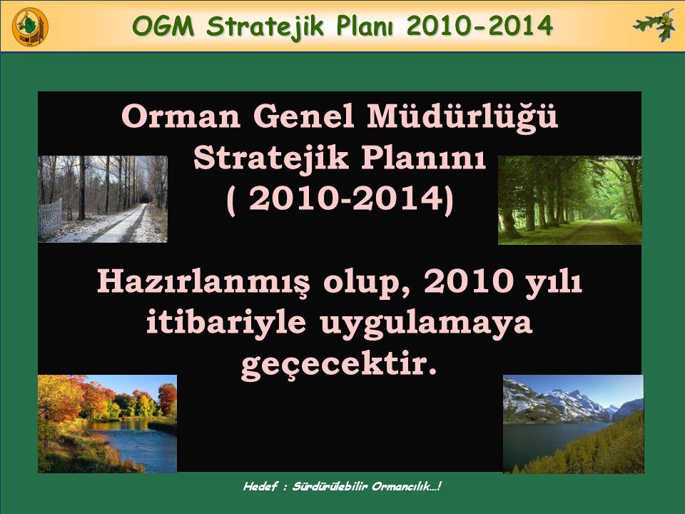 OGM Stratejik Planı 2010-2014 Orman Genel Müdürlüğü Stratejik Planını ( 2010-2014) Hazırlanmış olup, 2010 yılı itibariyle uygulamaya geçecektir. Hedef