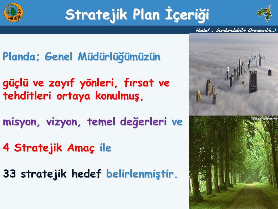 Planda; Genel Müdürlüğümüzün güçlü ve zayıf yönleri, fırsat ve tehditleri ortaya konulmuş, misyon, vizyon, temel değerleri ve 4 Stratejik Amaç ile 33