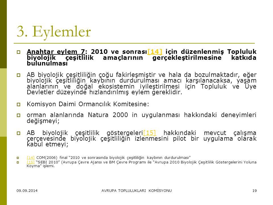 09.09.2014AVRUPA TOPLULUKLARI KOMİSYONU19 3. Eylemler  Anahtar eylem 7: 2010 ve sonrası[14] için düzenlenmiş Topluluk biyolojik çeşitlilik amaçlarını