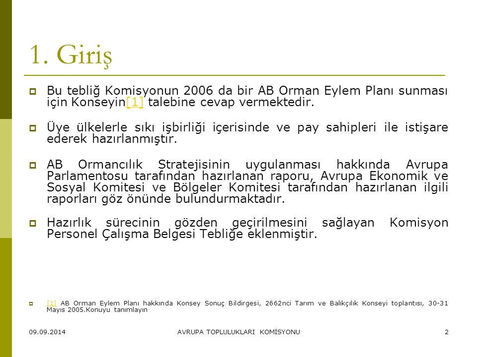 09.09.2014AVRUPA TOPLULUKLARI KOMİSYONU2 1. Giriş  Bu tebliğ Komisyonun 2006 da bir AB Orman Eylem Planı sunması için Konseyin[1] talebine cevap verm