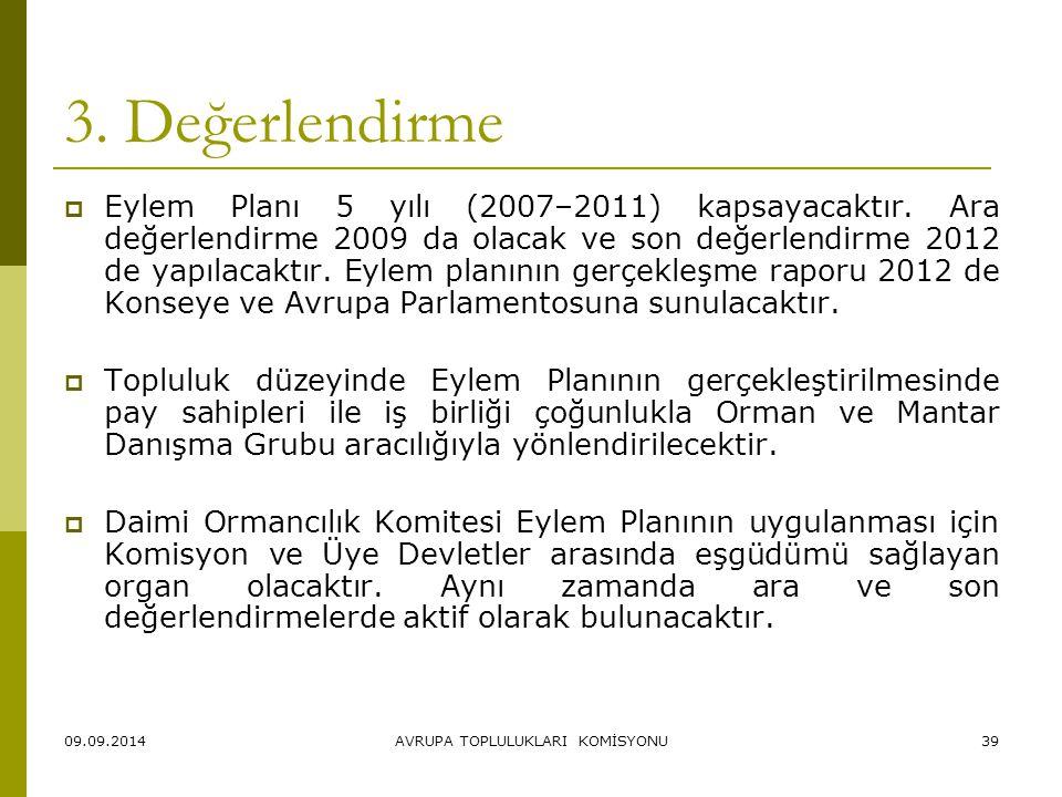 09.09.2014AVRUPA TOPLULUKLARI KOMİSYONU39 3. Değerlendirme  Eylem Planı 5 yılı (2007–2011) kapsayacaktır. Ara değerlendirme 2009 da olacak ve son değ