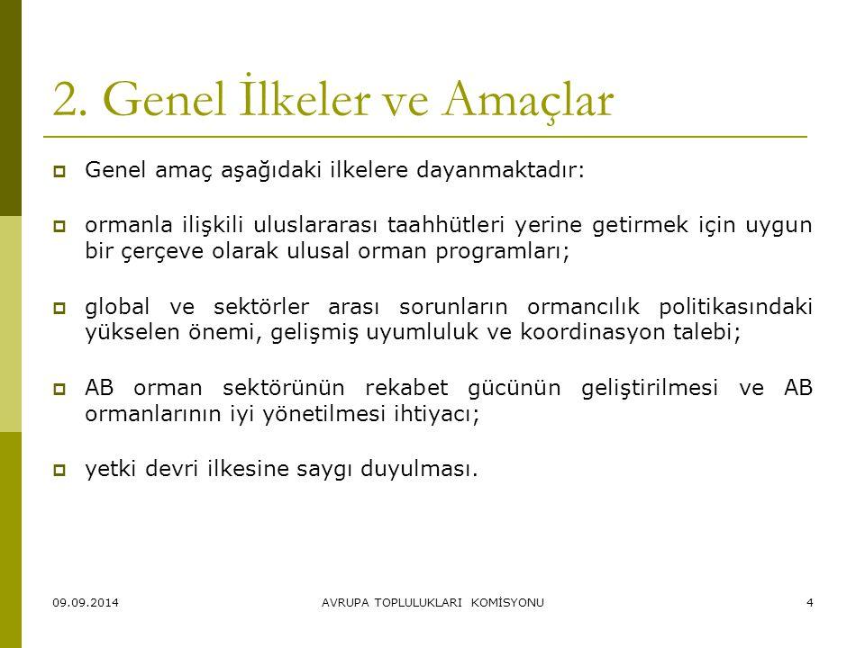 09.09.2014AVRUPA TOPLULUKLARI KOMİSYONU4 2. Genel İlkeler ve Amaçlar  Genel amaç aşağıdaki ilkelere dayanmaktadır:  ormanla ilişkili uluslararası ta