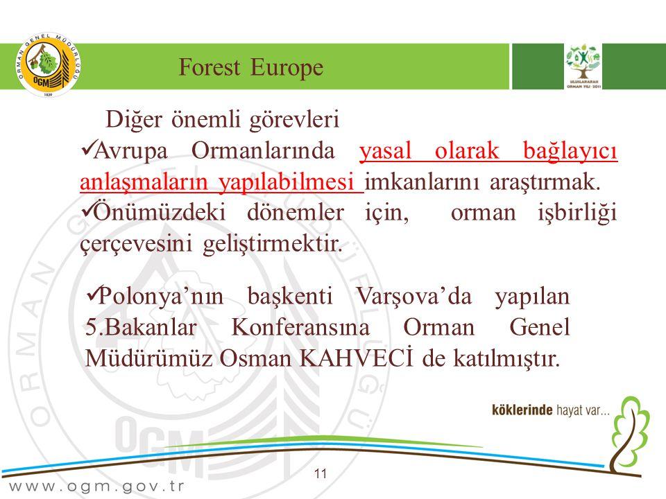 Forest Europe 11 Diğer önemli görevleri Avrupa Ormanlarında yasal olarak bağlayıcı anlaşmaların yapılabilmesi imkanlarını araştırmak. Önümüzdeki dönem