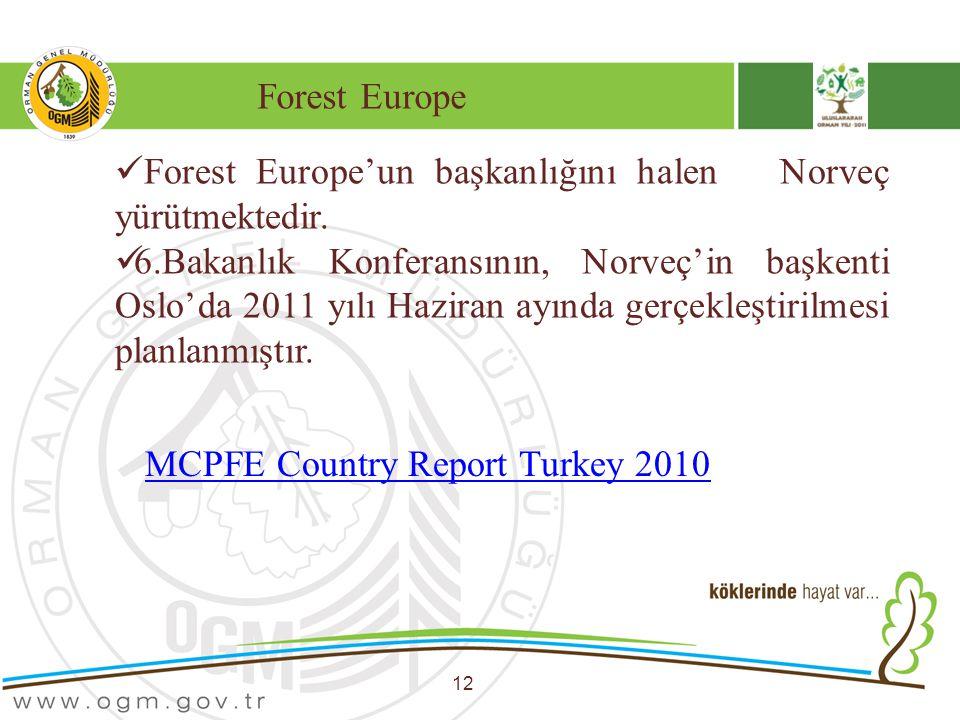 Forest Europe 12 Forest Europe'un başkanlığını halen Norveç yürütmektedir. 6.Bakanlık Konferansının, Norveç'in başkenti Oslo'da 2011 yılı Haziran ayın