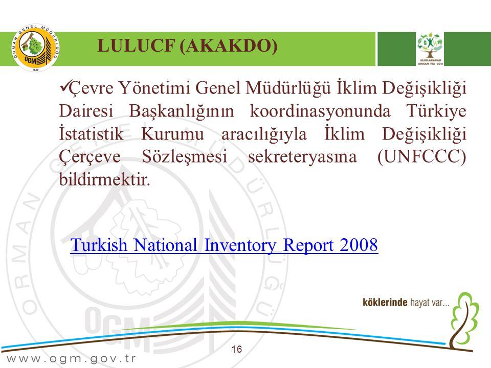 LULUCF (AKAKDO) 16 Çevre Yönetimi Genel Müdürlüğü İklim Değişikliği Dairesi Başkanlığının koordinasyonunda Türkiye İstatistik Kurumu aracılığıyla İkli